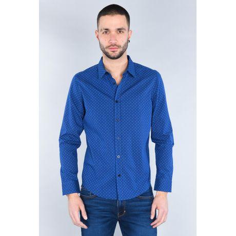 Camisa Moda Oggi Hombre Popelina Azul Oscuro Slim.