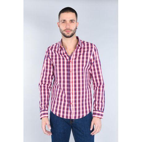 Camisa Moda Oggi Hombre Popelina Rojo Combinada Slim.