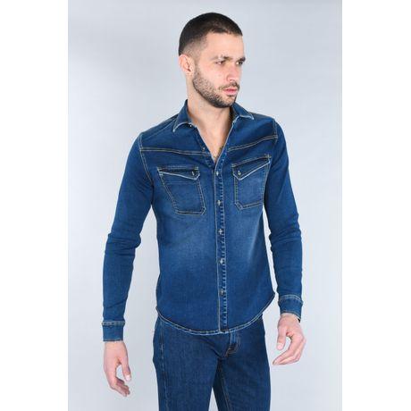 Camisa Moda Oggi Hombre Mezclilla Azul Medio Slim.