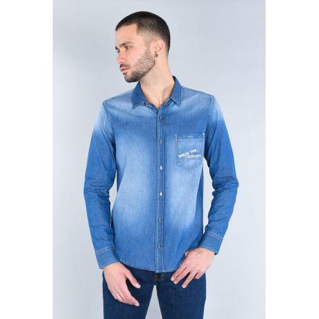 Camisa Moda Oggi Hombre Mezclilla Azul Claro Slim.
