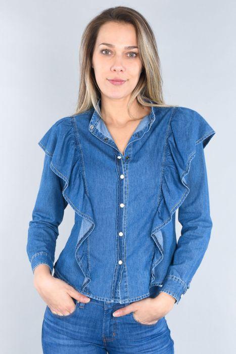 Blusa Moda Oggi Mujer Mezclilla Azul Claro Slim.