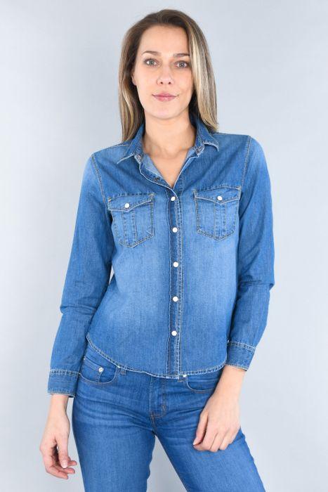 Blusa Moda Oggi Mujer Azul Claro Mezclilla Slim.