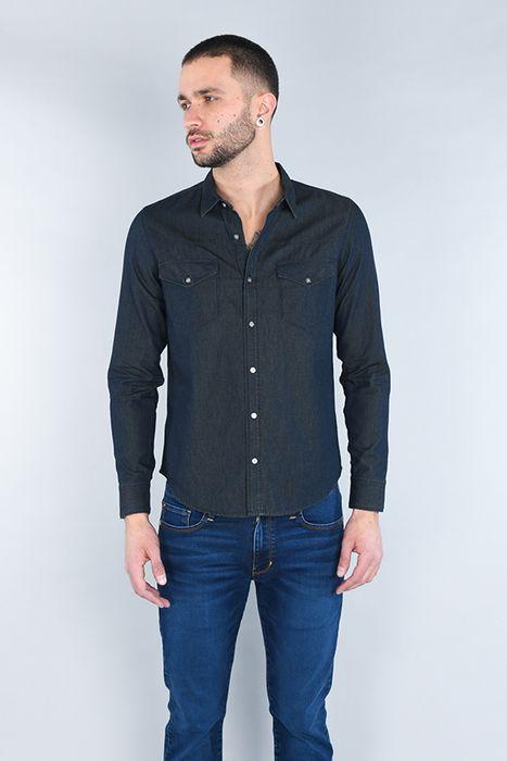 Camisa Moda Oggi Hombre Mezclilla Azul Oscuro Slim