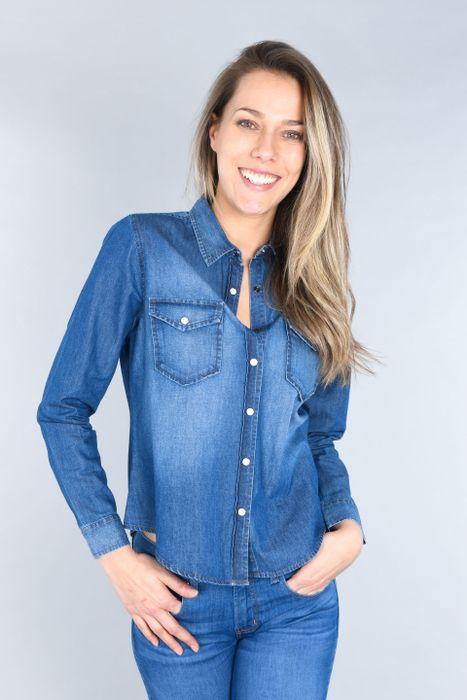 Blusa Moda Oggi Mujer Mezclilla Azul Medio Slim