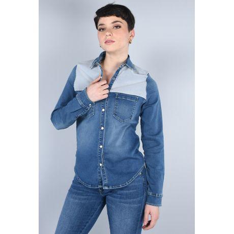 Blusa Moda Oggi Mujer Azul Medio Mezclilla Slim.