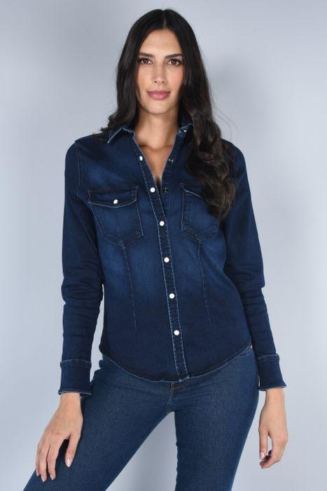 Blusa Moda Oggi Mujer Mezclilla Azul Oscuro Slim.