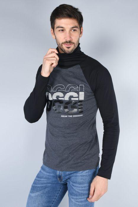 Playera Manga Larga Cuello Con Bandana Tubular Moda Oggi Hombre Gris Combinado Slim