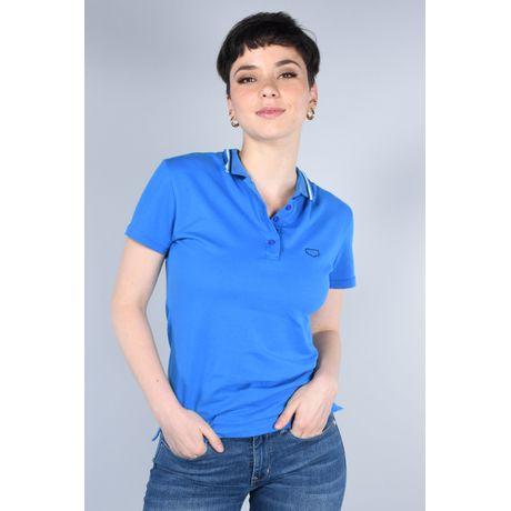 Polo Básica Oggi Mujer Piqué St Azul Medio Slim
