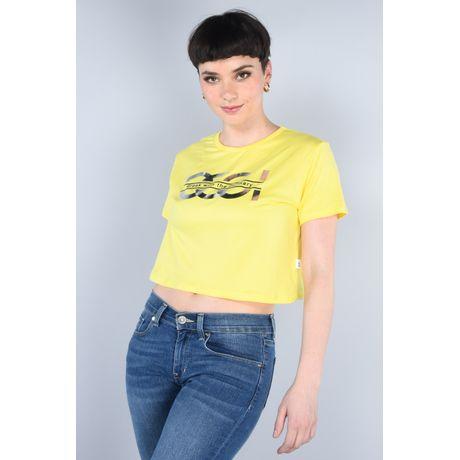 Playera Crop Moda Oggi Mujer Stretch Amarillo Claro Slim