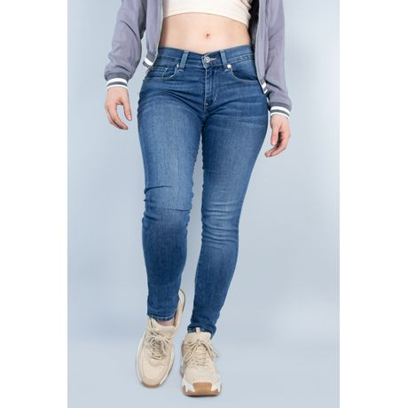 Jeans Oggi Mujer Mezclilla Azul Medio  Carol 21108 Súper Skinny