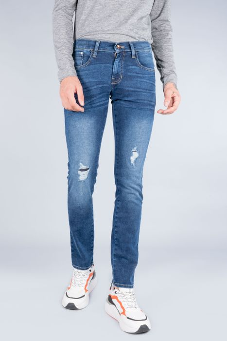 Jeans Oggi Hombre Mezclilla Azul Oscuro Moto 21141 Skinny
