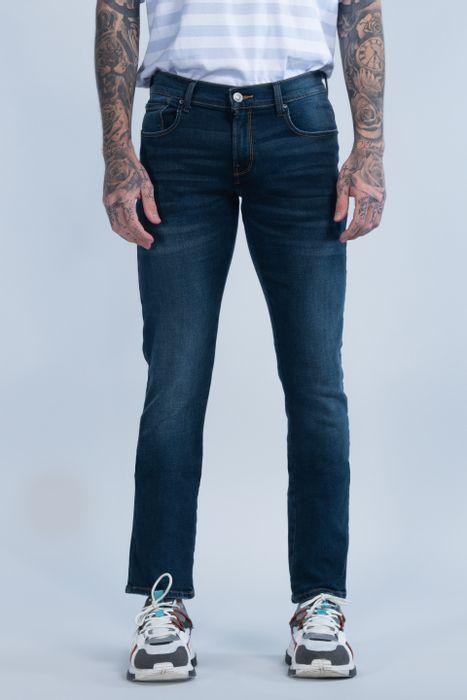 Jeans Oggi Hombre Mezclilla Azul Oscuro Moto 2141157 Skinny