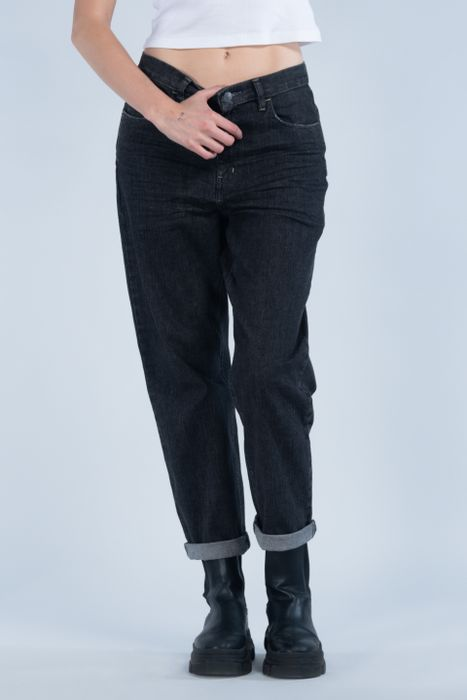 Jeans Oggi Mujer Mezclilla Gris Oscuro Mom 2142174 Relaxed