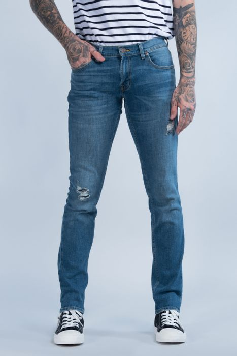Jeans Oggi Hombre Mezclilla Azul Claro Moto 2141165 Skinny