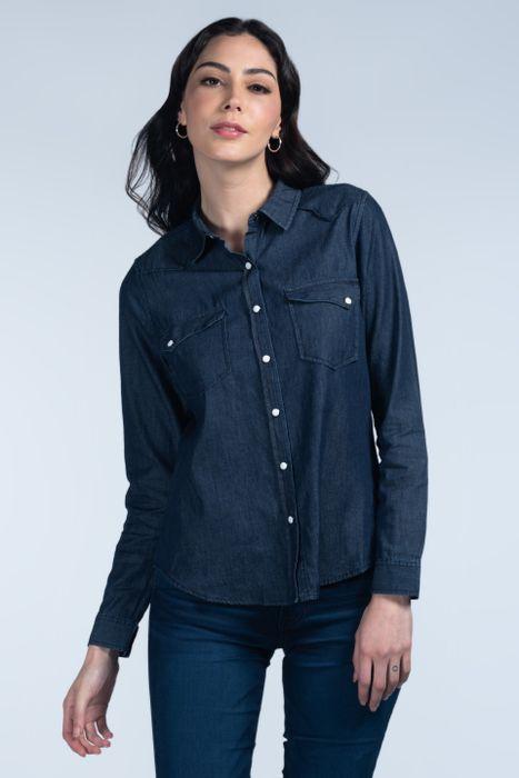 Blusa Moda Oggi Mujer Mezclilla 2142302 Azul Medio Slim