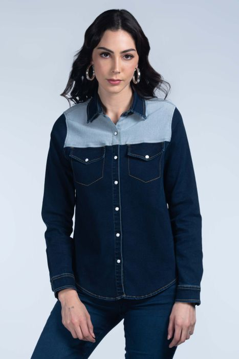Blusa Moda Oggi Mujer Mezclilla 2142306 Azul Medio Slim