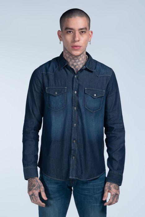 Camisa Moda Oggi Hombre Mezclilla Azul Oscuro 2141305 Slim