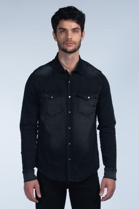 Camisa Moda Oggi Hombre Mezclilla Negro 2141301 Slim