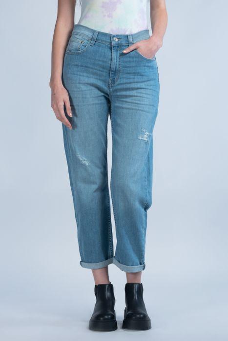 Jeans Oggi Mujer Mezclilla Azul Claro Mom 2142172 Relaxed