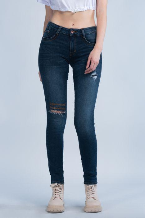 Jeans Oggi Mujer Mezclilla Random Stone Carol 2142120 Súper Skinny